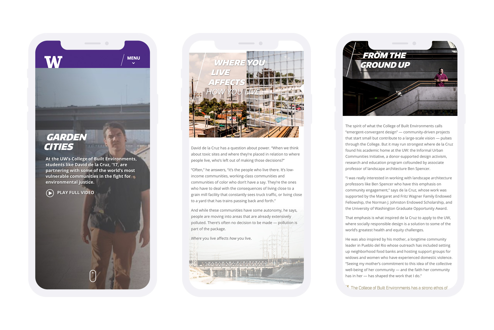 university of washington college of biult environment mobile site design