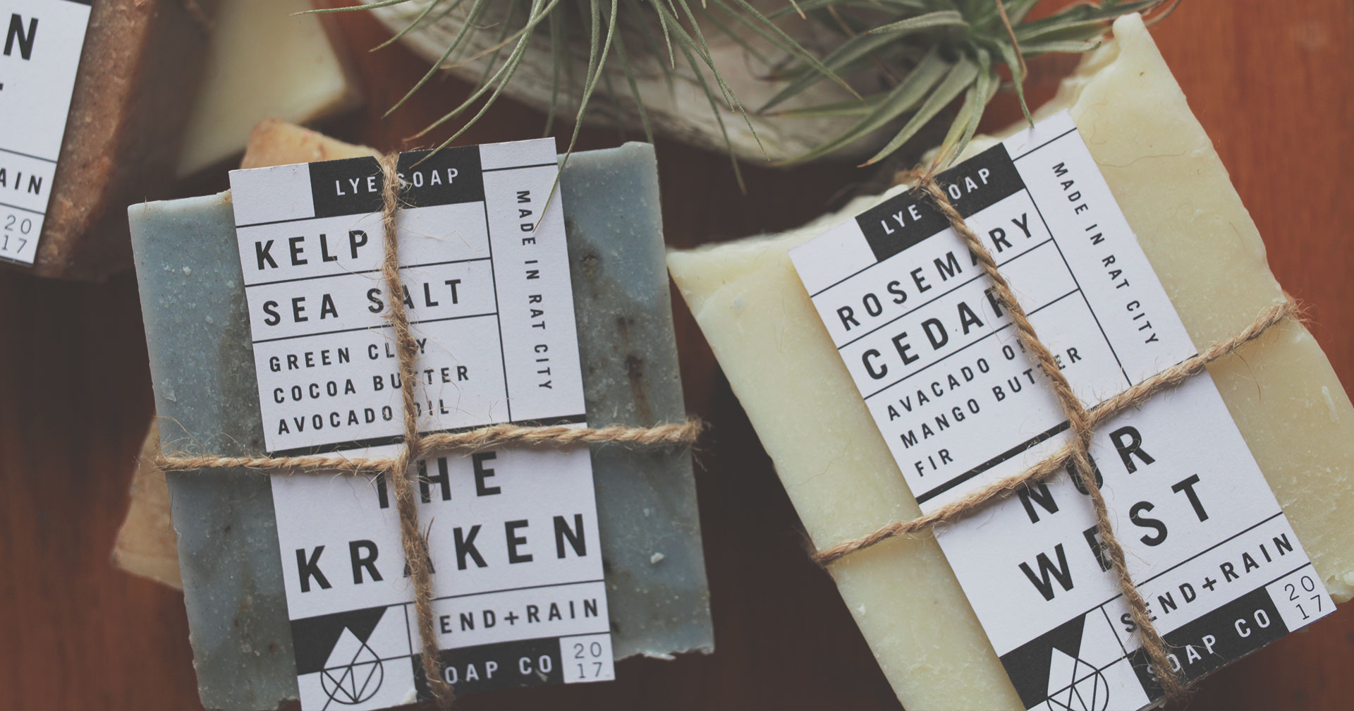 Send Rain soap company label mockup the group of bars