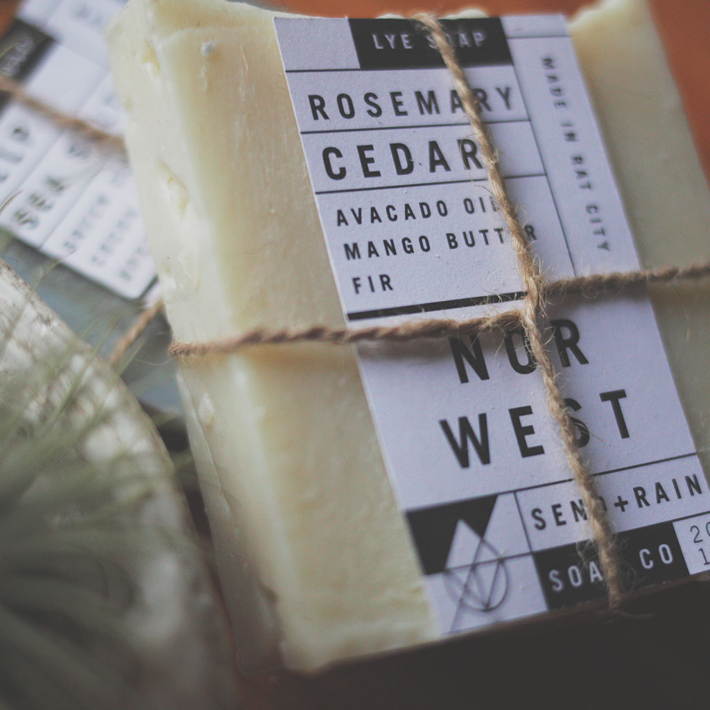 Send Rain soap company label mockup closeup
