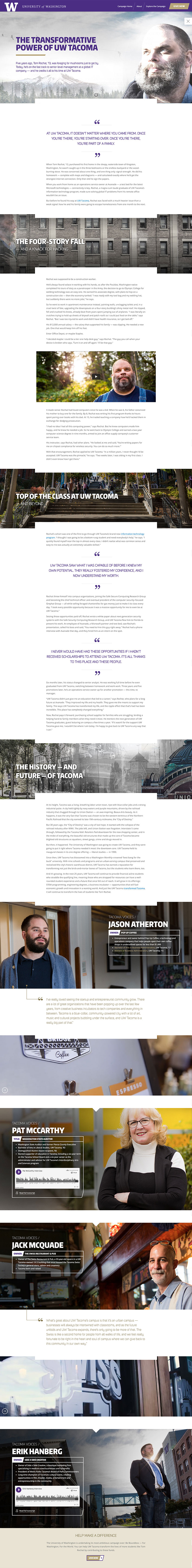 university of washington tacoma immersive website
